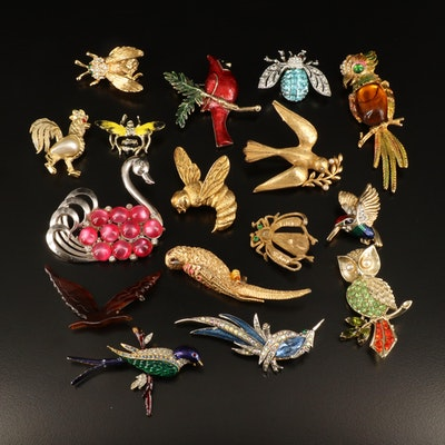 Vintage Birds and Insect Brooches Including Marvella, Tremblers and Rhinestones