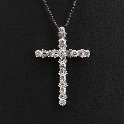 14K 1.21 CTW Diamond Cross Pendant Necklace