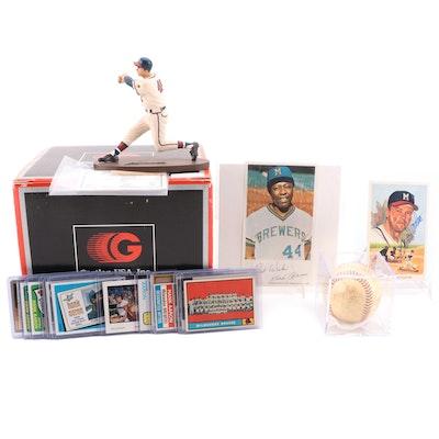 Milwaukee Braves Collection, Spahn Signed Ball, Mathews, Hank Aaron Cards
