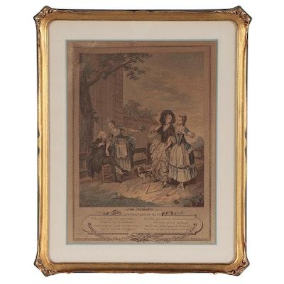 "Charles Louis Lingée Hand-Colored Etching ""La Promenade du Matin,"" 1774"