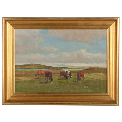 Oil Painting of Rural Pasture, Mid-20th Century