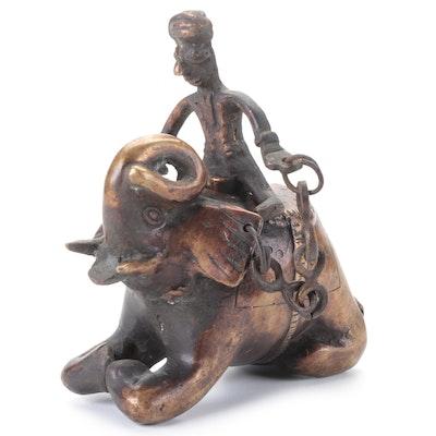 Indian Bronze Elephant with Rider Incense Burner