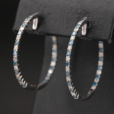 14K 2.00 CTW Diamond Inside-Out Hoop Earrings