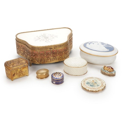 Limoges Vanity Box With Jewelry and Trinket Boxes