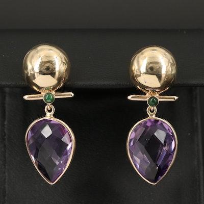 14K Amethyst and Emerald Earrings