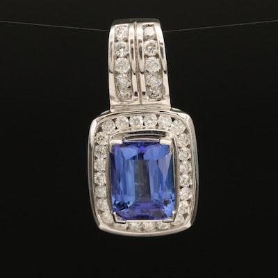 14K 3.38 CT Tanzanite and Diamond Halo Pendant