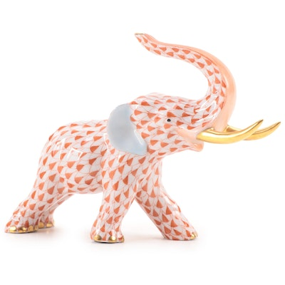 """Herend Rust Fishnet with Gold Porcelain """"Charging Elephant"""" Figurine, April 1996"""