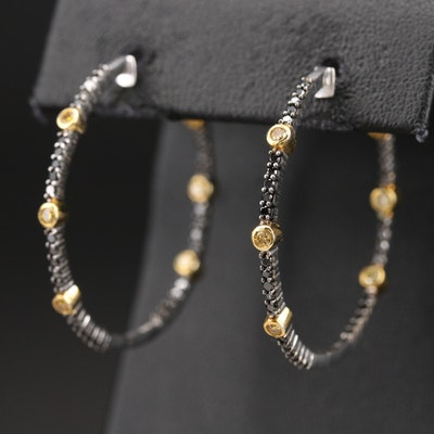 14K 1.25 CTW Diamond Inside-Out Hoop Earrings