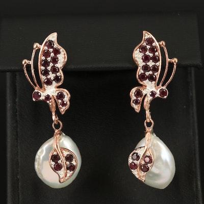 Sterling Pearl and Garnet Butterfly Earrings