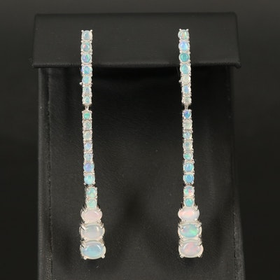 Sterling Opal Graduated Line Earrings