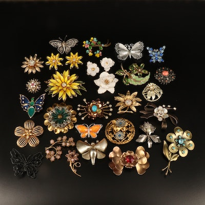 Vintage Butterflies and Flower Jewelry Collection with Retro Brooches
