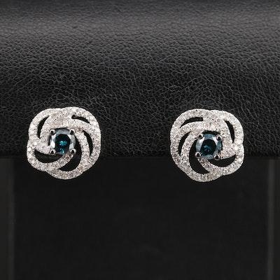 10K 1.00 CTW Diamond Knot Earrings