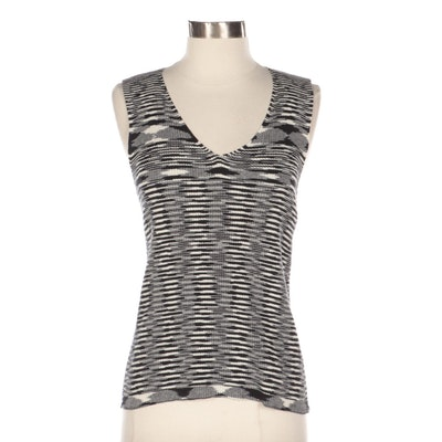 Adrienne Vittadini Black and White Cotton Knit Sleeveless Top