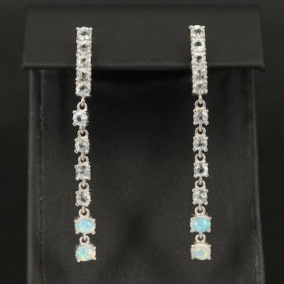 Sterling Opal and Aquamarine Graduated Earrings