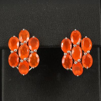 Sterling Fire Opal Cluster Earrings