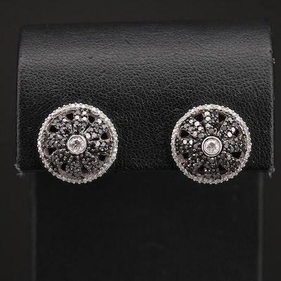 14K 1.50 CTW Diamond Domed Earrings