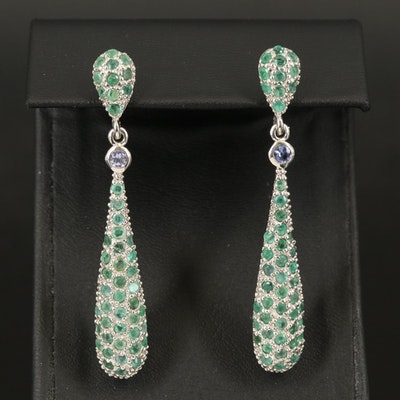 Sterling Emerald and Tanzanite Teardrop Earrings