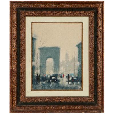 William Stilson Impressionist Style Street Scene Oil Painting, 1969