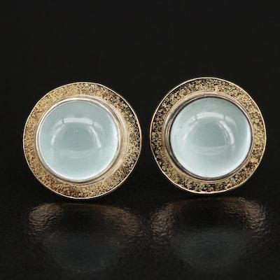 Sterling Bezel Set Aquamarine Earrings