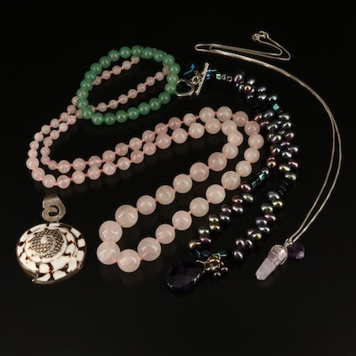 Rose Quartz Necklace and Shell Pendant Featured with Beaded Jewelry