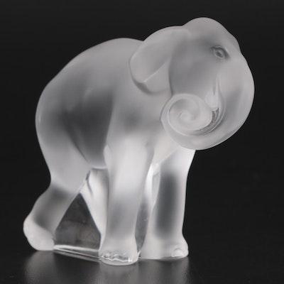 "Lalique ""Timore"" Crystal Elephant Cub Figurine"