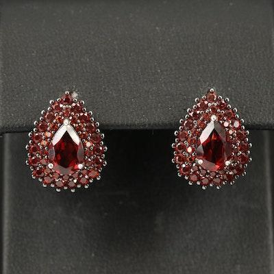 Sterling Garnet Teardrop Earrings