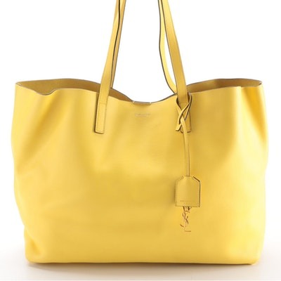 Saint Laurent Large Shopper Tote in Yellow Grained Leather