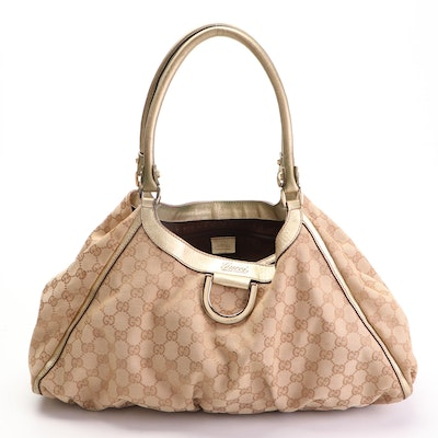 Gucci D-Ring Large Hobo Bag in GG Canvas and Metallic Gold Leather