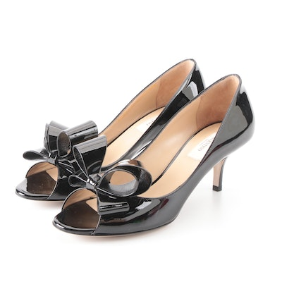Valentino Open-Toe Pumps in Black Patent Leather with Bow