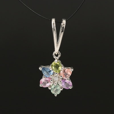 Sterling Gemstone Pendant with Sapphire and Peridot