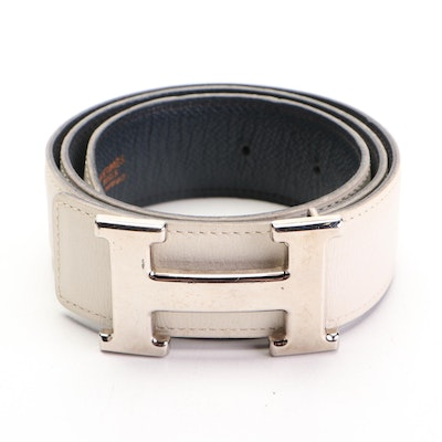 Hermès Constance Belt in White and Navy Reversible Leather