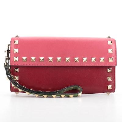 Valentino Rockstud Multicolor Leather Wrist Wallet