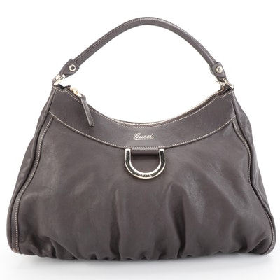 Gucci Abbey D-Ring Contrast Stitched Leather Hobo Bag
