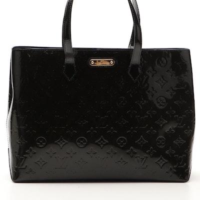 Louis Vuitton Wilshire MM Tote Bag in Monogram Bleu Inifini Vernis Leather