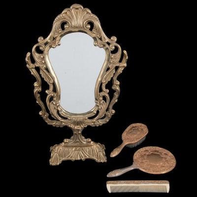 Cast Metal Vanity Set with Vanity Mirror