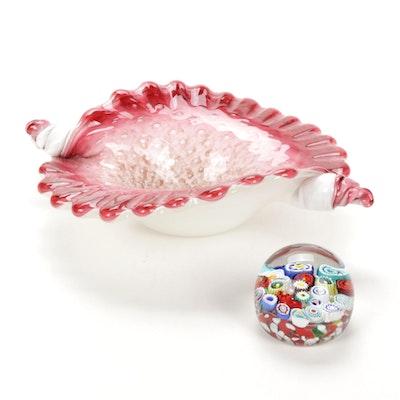 Murano Glass Bowl and Milleffiori Paperweight