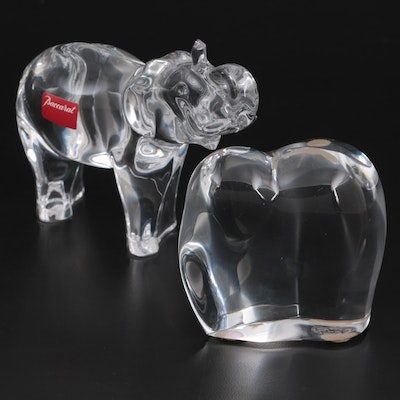 """Baccarat """"Elephant Trunk Up"""" and """"Asian Elephant"""" Crystal Figurines"""