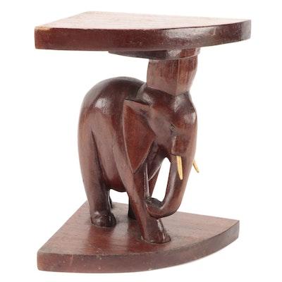 Wooden Elephant Form Corner Side Table