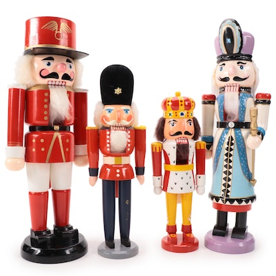 Erzebirge and Other Carved Wooden Nutcrackers, Mid to Late 20th Century