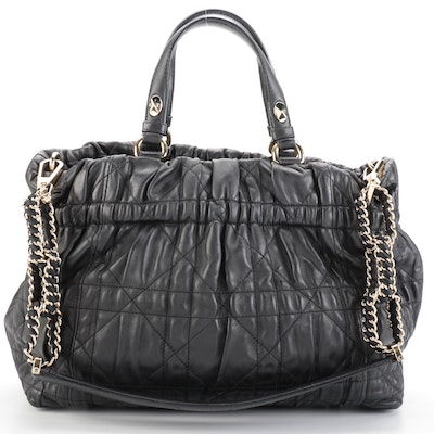 Christian Dior Delices Cannage Quilted Black Leather Two-Way Tote