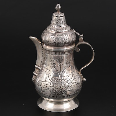 Anglo-Indian 900 Silver Chased Coffee Pot, Late 19th to Early 20th Century