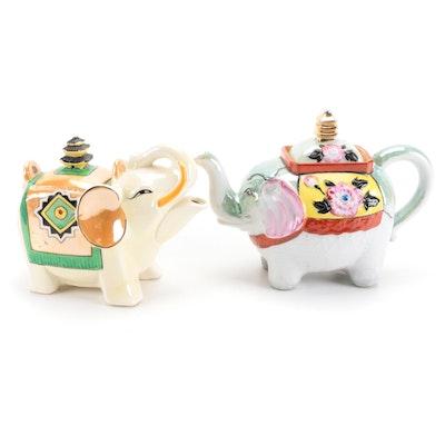 Japanese Hand-Painted Porcelain Elephant Teapots, Mid-20th Century
