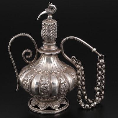 Indian Silver and Metal Chuski Opium Water Flask, Late Mughal Period
