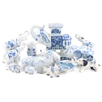 East Asian Style Blue and White Ceramic Elephant Form Figurines and Others