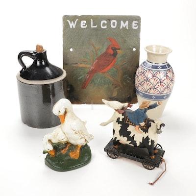 "Cornish Hill ""Blue Arabesque"" Vase, Williraye Studio Figurine and Other Decor"
