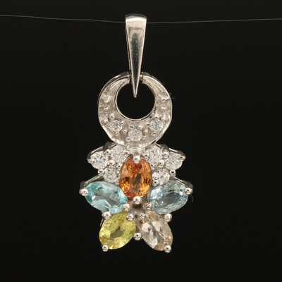Sterling Apatite, Sapphire and Zircon Cluster Pendant