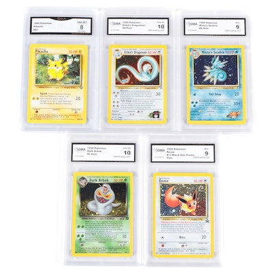 1999 Pokémon Holo and Other GMA Graded Trading Cards Including Black Star Promo