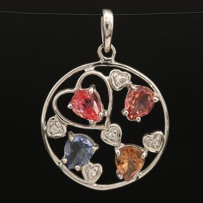 Sterling Openwork Heart Pendant with Sapphire, Zircon and Tanzanite