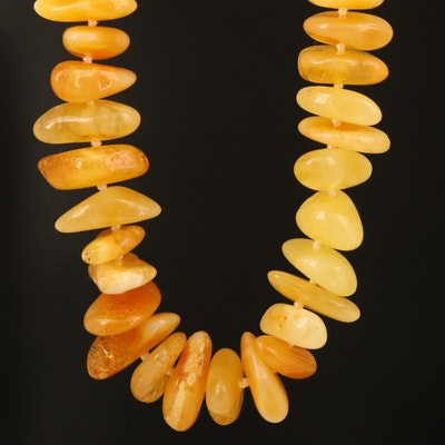 Amber Beaded Necklace with 14K Accents