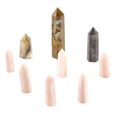 Pink Calcite and Jasper Polished Point Specimens